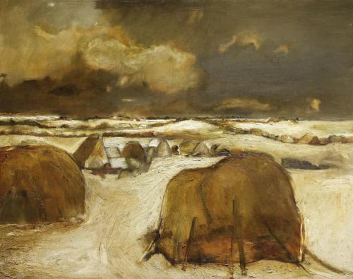 Haystacks in winter c.1961